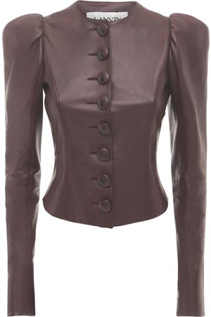 Lanvin Leather Jacket W/ Puff Sleeves
