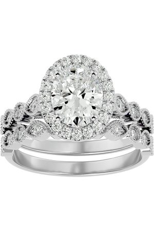 SuperJeweler 2.60 Carat Oval Shape Diamond Bridal Ring Set in 14K (6.40 g) (H-I, SI2-I1), Size 4