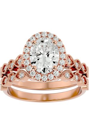 SuperJeweler 2.60 Carat Oval Shape Diamond Bridal Ring Set in 14K Rose (6.40 g) (H-I, SI2-I1), Size 4