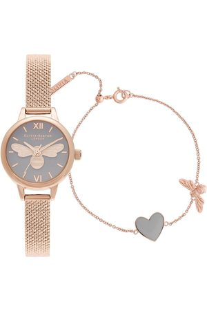 Olivia Burton Lucky Bee Mini Lucky Bee, Grey Dial & Rg Boucle Mesh Watch & You Have My Heart Bracelet Giftset
