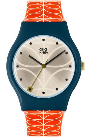 Orla Kiely Bobby Champagne And Blue Dial Pink Stem Print Silicone Strap Ladies Watch