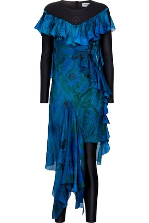 Marine Serre Exclusive to Mytheresa – Printed silk and stretch-jersey dress