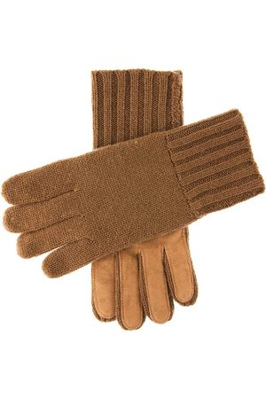 Dents Men's Cashmere Knitted Gloves With Suede Palm Patch In Size L