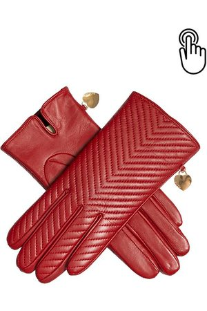Dents Women's Touchscreen Quilted Leather Gloves With Heart Pendant In Size 8
