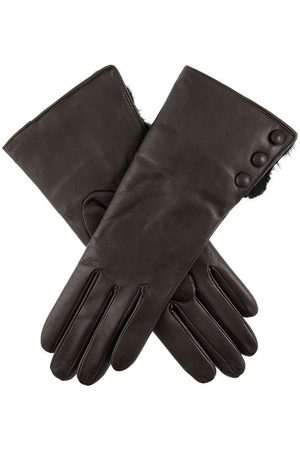 Dents Women's Leather Gloves With Fur Cuffs In Size 8