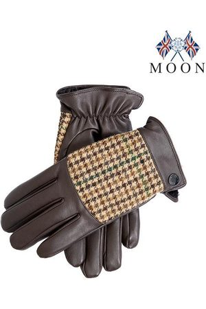 Dents Men's Faux Fur Lined Abraham Moon Dogtooth & Leather Gloves In Size L