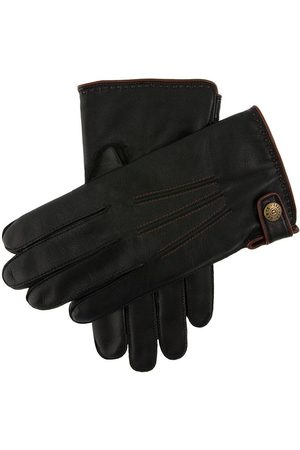 Dents Men's Lambswool Lined Leather Gloves With Stud Tab In Size 9