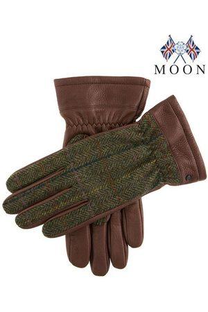 Dents Men's Abraham Moon Tweed & Deerskin Leather Gloves In Size Xl