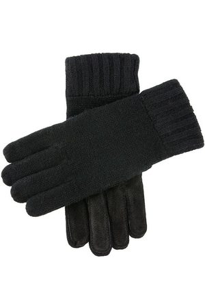 Dents Men Gloves - Men's Knitted Gloves With Suede Palm Patch In Size L