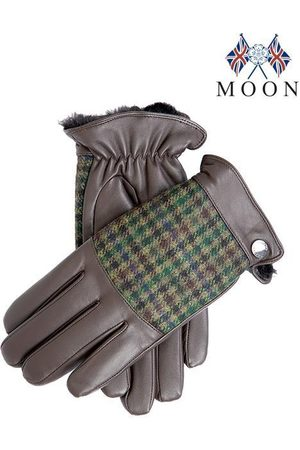 Dents Men's Faux Fur Lined Abraham Moon Dogtooth & Leather Gloves In Size M