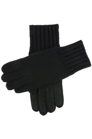 Dents Men Gloves - Men's Cashmere Knitted Gloves With Suede Palm Patch In Size L