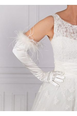 Dents Women's Long Satin Gloves With Feather Cuffs In Size One