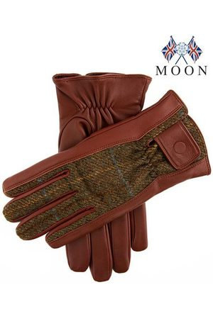 Dents Men's Abraham Moon Tweed & Leather Gloves In Size S