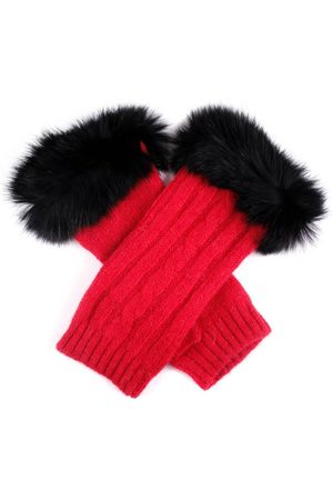 Dents Women's Cable Knit Wrist Warmers With Fur Cuffs In Size One