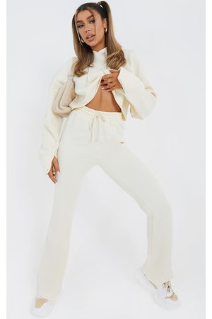 PRETTYLITTLETHING Cream Flared Leg Joggers