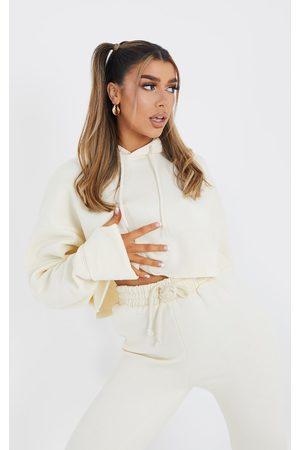 PRETTYLITTLETHING Women Sweatshirts - Cream Oversized Turn Up Sleeve Hem Cropped Sweater