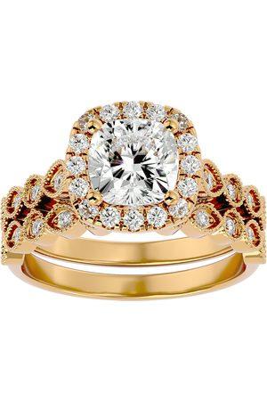 SuperJeweler 2.60 Carat Cushion Cut Diamond Bridal Ring Set in 14K (6.40 g) (H-I, SI2-I1), Size 4