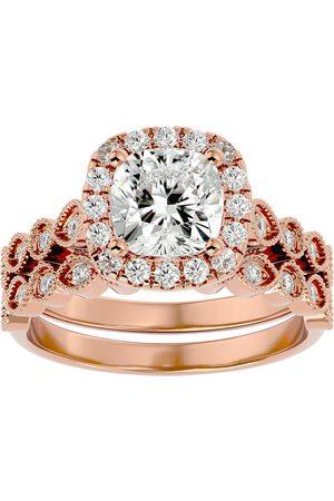 SuperJeweler 2.60 Carat Cushion Cut Diamond Bridal Ring Set in 14K Rose (6.40 g) (H-I, SI2-I1), Size 4