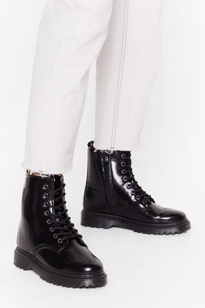 NASTY GAL Women Biker Boots - Womens Lace the Music Faux Leather Biker Boots - - 3