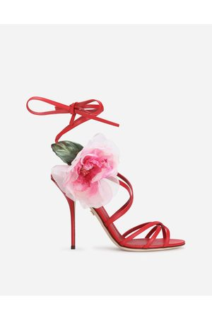Dolce & Gabbana Women Sandals - Sandals and Wedges - NAPPA LEATHER SANDALS WITH SILK FLOWER female 36