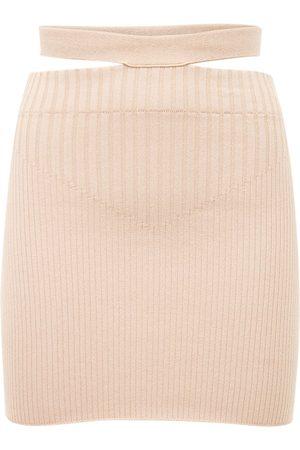 adidas Viscose Blend Rib Knit Cutout Mini Skirt