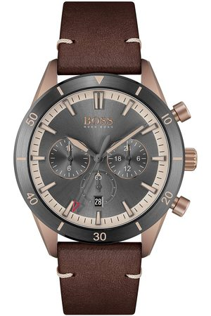 Boss Santiago Grey Dial Brown Leather Strap Gents Watch