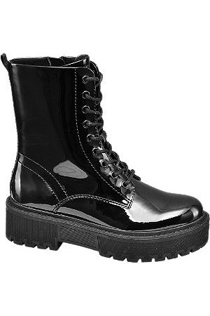 adidas Patent Lace Up Biker Boots