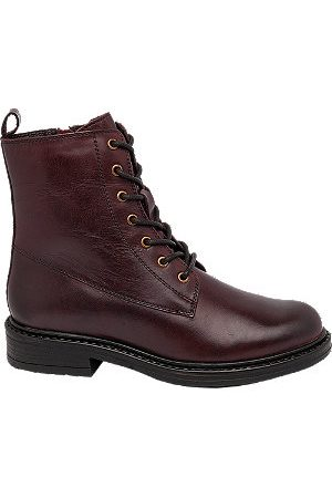 adidas Burgundy Lace Up Leather Ankle Boots