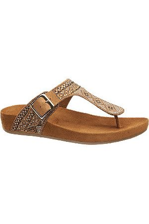 adidas Women Sandals - Tan Toe Post Studded Footbed Sandals