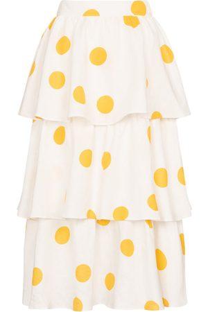 adidas Aya polka-dot linen midi skirt