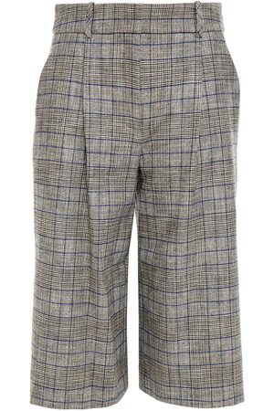 VERONICA BEARD Women Culottes - Woman Fernanda Pleated Prince Of Wales Checked Flannel Shorts Gray Size 10