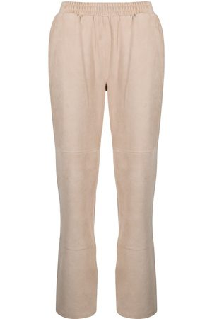 adidas Elasticated leather trousers - Neutrals