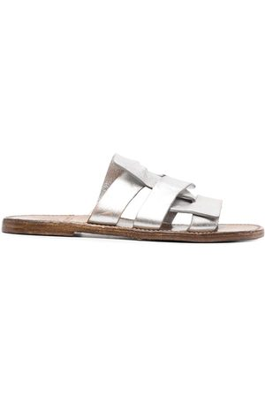 adidas Metallic-sheen leather sandals