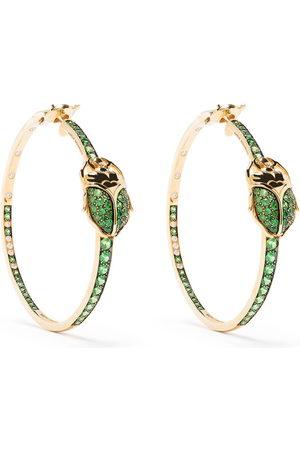adidas 18kt yellow Scarab tsavorite and diamond hoop earrings