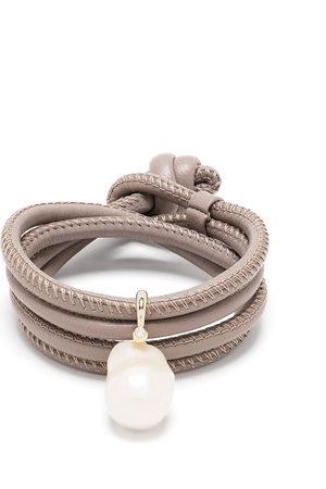 adidas 14kt yellow , diamond and pearl wrap bracelet