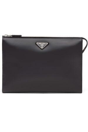 adidas Logo-plaque leather pouch bag