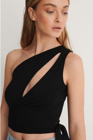 adidas Tie Detail Crop Top - Black
