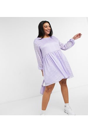 Urban Threads Curve Smock dress in lilac check