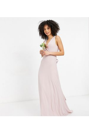 TFNC Tall Bridesmaid plunge front bow back maxi dress in mink