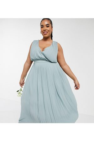 TFNC Bridesmaid pleated wrap front midaxi dress in sage