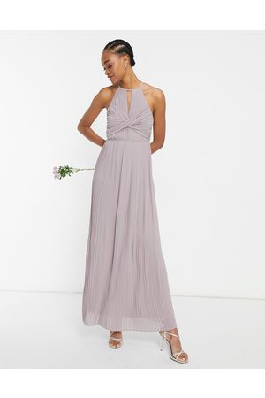 TFNC Bridesmaid pleated wrap detail maxi dress in
