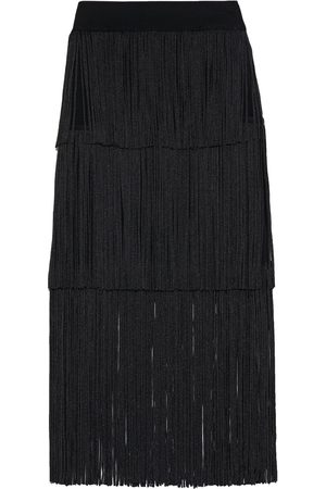 adidas Women Midi Skirts - Hervé Léger Woman Tiered Fringed Bandage Skirt Size L