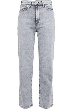 adidas Women Slim - Woman Nina Cropped Faded High-rise Slim-leg Jeans Gray Size 23