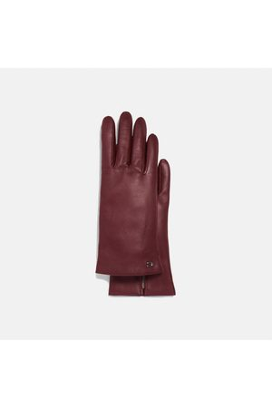 Coach Sculpted Signature Leather Tech Gloves in Burgundy - Size 6 1/2