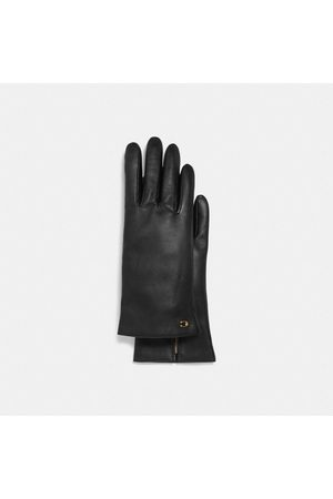 Coach Sculpted Signature Leather Tech Gloves in - Size 6 1/2