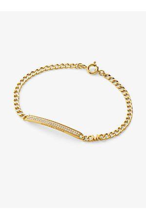 Michael Kors MK Precious Metal-Plated Sterling Silver Pavé Plaque Curb Link Bracelet