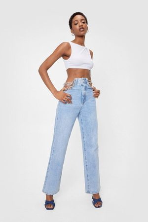 NASTY GAL Womens Chain Detail High Waisted Straight Leg Jeans - - S