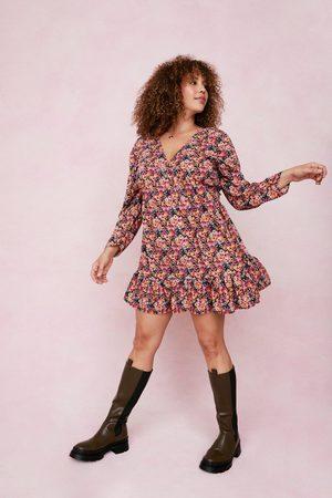 NASTY GAL Womens Plus Size Floral Ruffle Mini Dress - - 16