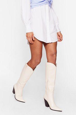 NASTY GAL Womens Western Heeled Knee High Boots