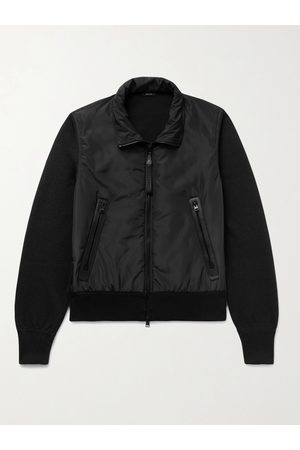 Tom Ford Men Leather Jackets - Leather-Trimmed Wool and Shell Blouson Jacket
